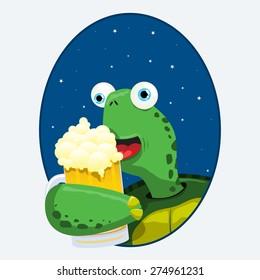 turtle having a beer