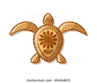 Turtle icon with traditional Hawaiian or Polynesian decorations placed on white background.