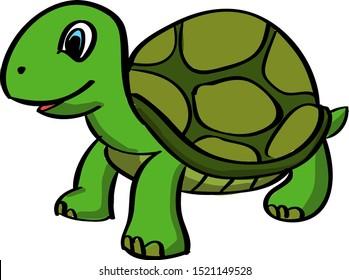 Turtle, illustration, vector on white background.