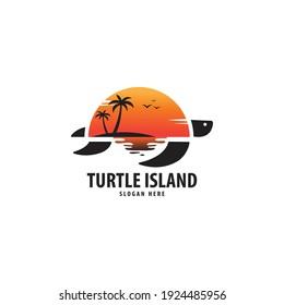 Turtle Island Logo, Turtle Island Vector Design, vector illustration