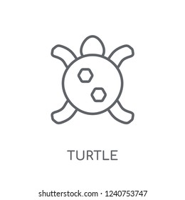 Turtle linear icon. Modern outline Turtle logo concept on white background from animals collection. Suitable for use on web apps, mobile apps and print media.