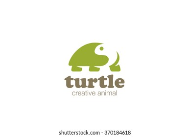 Turtle Logo abstract design vector template Negative space style. Wild animal zoo Logotype slow concept icon.