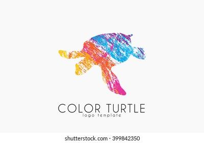 turtle logo design. Color turtle. Creative logo