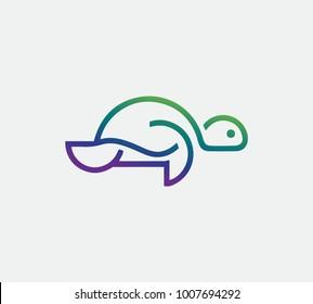 Turtle logo vector on white background, tortoise icon vector.