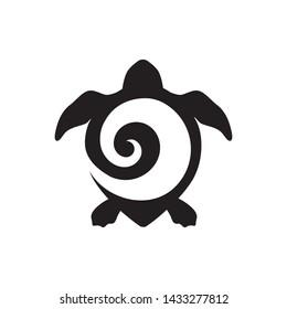 Turtle with Maori tattoo shell, logo icon