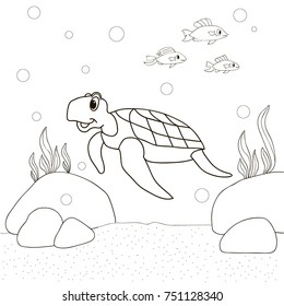 Turtle On The Sea Bottom And Fish Swim Cartoon Coloring Pages Book
