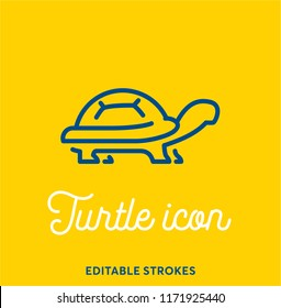 Turtle outline icon isolated on yellow background. Minimal animal icon set, cute pet. Turtle shell symbol with editable stokes for infographics or web use. Flat design silhouette. Tortoise armour