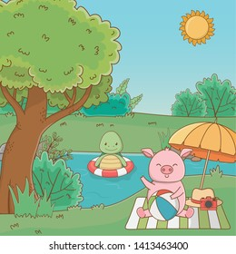 Turtle and pig in forest design vector illustration