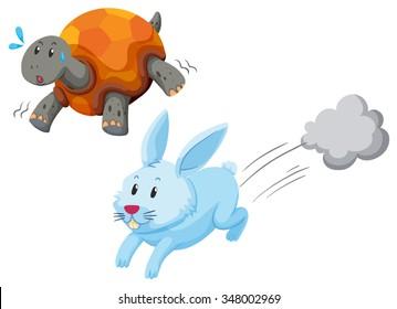 Turtle and rabbit racing illustration