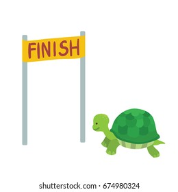 Turtle race to the finish line.