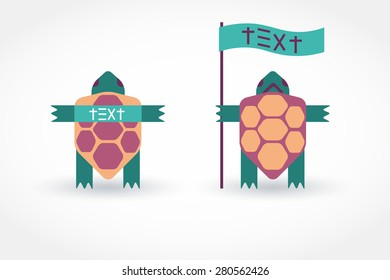 Turtle Shield with a banner