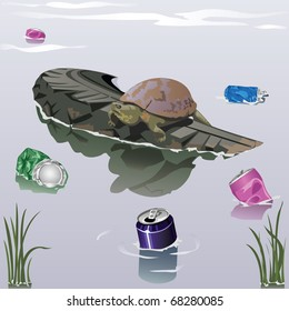 Turtle sits on a tire surrounded by cans in water
