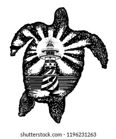 Turtle tattoo art. Symbol of tropical travel, adventure, surf. Lighthouse on edge of cliff. Sea turtle double exposure animals