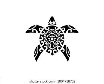turtle tattoo Icon Vector illustration. sea turtle symbol. tortoise sign, emblem isolated on white background, Flat style for graphic and web design, logo. EPS10 black pictogram.
