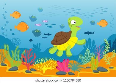 Turtle in underwater scene. Tortoise, seaweeds and fishes in ocean bottom. Cartoon marine vector background. Illustration of turtle under water ocean, marine life