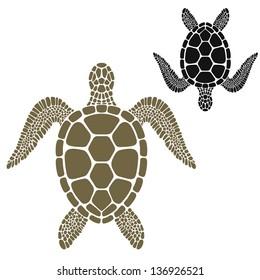 Turtle. Vector illustration. Sea life