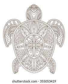 Turtle Vector illustration in Zentangle style. Hand drawn design elements.