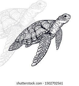 turtle vector with vintage outline style