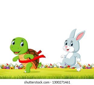eine Schildkröte gewinnt das Rennen gegen ein Kaninchen