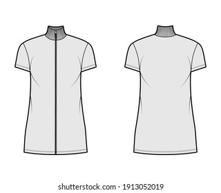 Turtleneck zip-up dress technical fashion illustration with short sleeves, mini length, oversized body, Pencil fullness. Flat apparel template front, back, grey color. Women, men, unisex CAD mockup