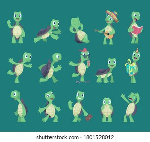 Turtles cartoon. Comic reptile funny characters in various action poses nature wild animals vector turtles illustrations