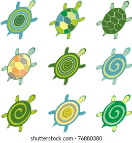 turtles set isolated on White background. Vector illustration