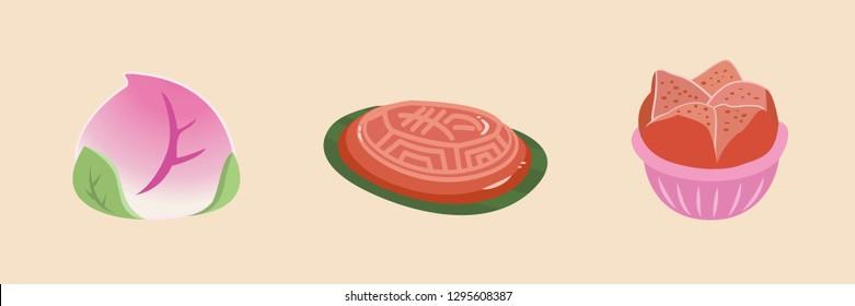 Turtle-shaped rice cake, peach-shaped birthday bun, and Chinese steamed sponge cake.