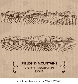 Tuscany Landscape with Fields and Mountains. Hand drawn Vector Illustration
