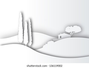 Tuscany landscape stylized as white paper silhouette