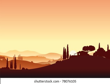 tuscany landscape in sunset with farm house and cypress trees, hills and mountains - vector illustration