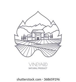 Tuscany landscape with vineyard fields, villa, mountains in grapes leaf shape. Outline vector illustration of rural landscape. Trendy concept for wine list, bar or restaurant menu, labels and package.