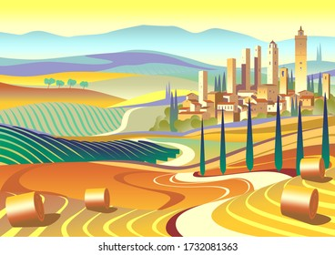 Tuscany Rural Landscape with fields, vineyards, cypresses, town and hills in the background. Handmade drawing vector illustration. Art Deco retro style poster.