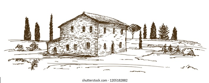 Tuscany villa. Hand drawn vector illustration.