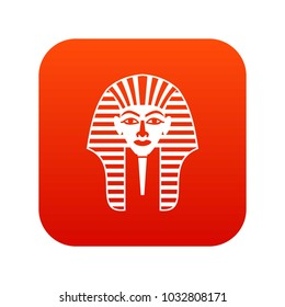 Tutankhamen mask icon digital red for any design isolated on white vector illustration