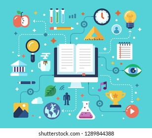 Tutorial, E-learning, Distance Education, Study, Online Learning. Flat design modern vector illustration concept.
