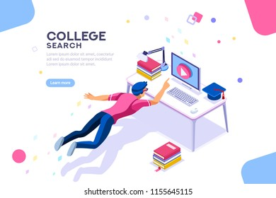 Tutorial infographic, graduation, e-learning research, university exam, college research, online courses concept. Character teaching course or seminar for students in the world. Flat isometric vector.