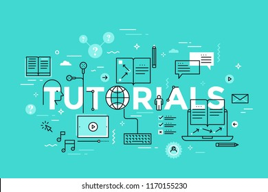 Tutorials lettering with online education, audio and video lesson, lecture or podcast, internet learning thin line icons. Modern infographic banner with elements in linear style. Vector illustration.