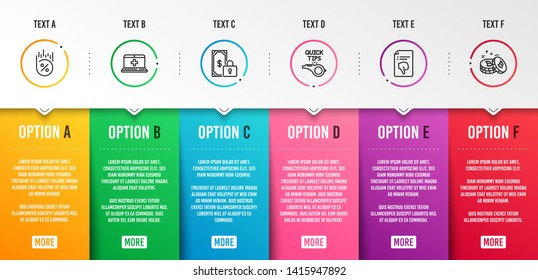 Tutorials, Loan percent and Private payment icons simple set. Medical help, Thumb down and Bitcoin signs. Quick tips, Discount. Technology set. Infographic template. 6 steps timeline. Business options