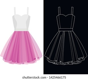 Tutu dress image with white outline silhouette on black