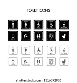 Tuvalet iconları ( bebek bakım odası, cocuk wc, pisuvar, bay-bayan wc). Translation : Toilet icons ( babay care icons, kids wc, Urinal, man - woman wc)