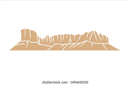 Tuwaiq Mountain in Riyadh, Saudi Arabia. Simple Icon. Eps Vector.