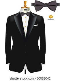 Tuxedo with Bow Tie - Vector Illustration made with gradient meshes