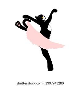 Tuxedo cat in tutu skirt dancing ballet vector isolated