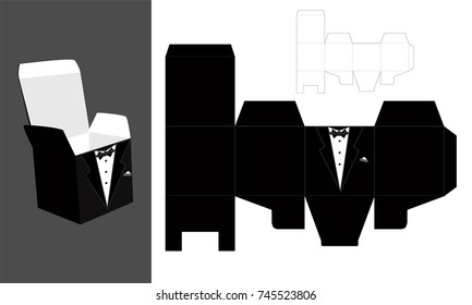 Diy chocolate images stock photos vectors shutterstock tuxedo printable square packaging with lid groom wedding favor box fast and malvernweather Image collections