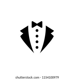Tuxedo suit icon . Tie classic butler dress