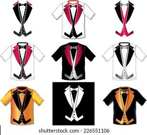 Tuxedo t-shirt vector design set of nine illustration