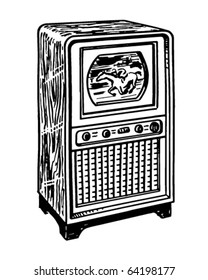 TV 1 - Retro Clipart Illustration