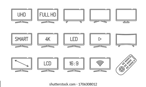 TV black line icons set. Receive broadcasting signals and change them into pictures and sound. Different types of tv displays. Pictogram for web page, mobile app, promo. Editable stroke.