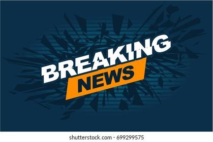 TV breaking news headline intro vector banner graphic design in white background