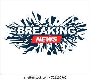 TV breaking news headline intro vector banner graphic design in white background